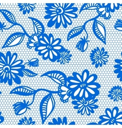 Blue seamless floral vintage lace background vector image