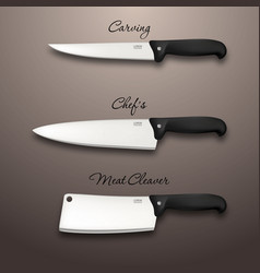 cutlery icon set - realistic kitchen knives vector image