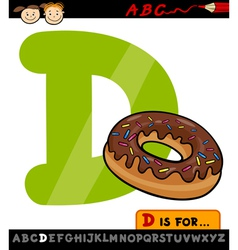 letter d with donut cartoon vector image vector image