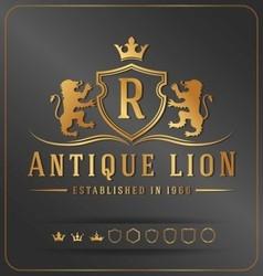Luxurious Lions Royal Crest Design Template vector image