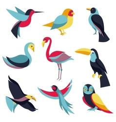 Set of logo design elements - birds signs vector