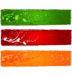 three banner with swirl design vector image