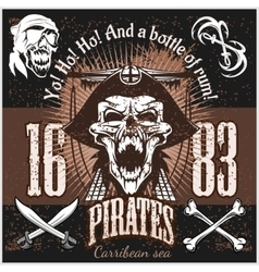 Vintage pirate labels or design elements with vector