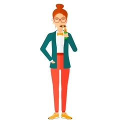Woman smoking cigar vector image vector image