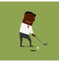Businessman playing golf at green field vector
