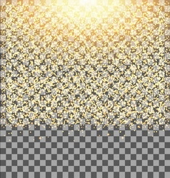 Gold glow glitter sparkles on transparent vector image vector image