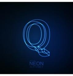 Neon 3D letter Q vector image vector image