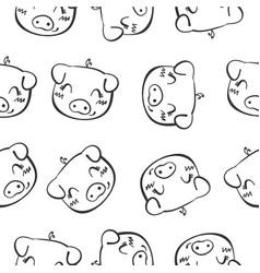 pig head hand draw doodles vector image