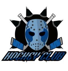retro logo mask hockey club vector image vector image