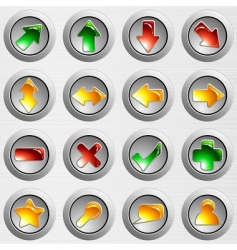 set of brushed steel buttons vector image