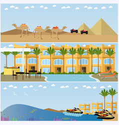 Set of egyptian resorts and famous places vector