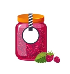 Sweet raspberry pink jam glass jar filled with vector