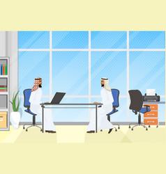 arab business men meeting two muslim businessman vector image