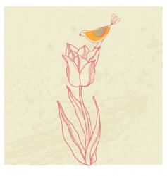 bird on flower card vector image
