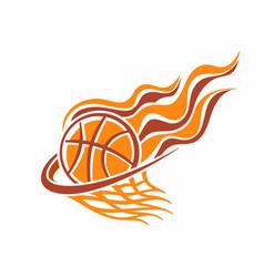 burning basketball ball in basket vector image