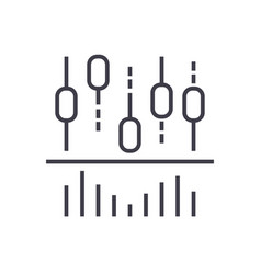candlestick chart and lines line icon sign vector image vector image