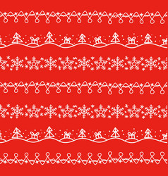 different doodle christmas decor seamless vector image vector image