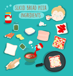 easy sliced bread pizza without oven ingredients vector image vector image