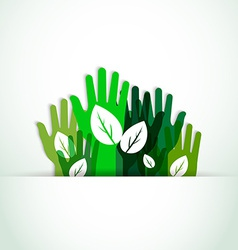 ecological hands up vector image vector image