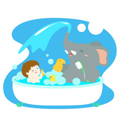 little boy take a bath with elephant in tub vector image