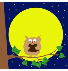 Owl sitting on a branch reading book by moonlight vector image