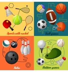 Sports 4 flat icons composition vector image