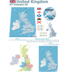 United Kingdom maps with markers vector image vector image
