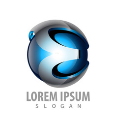 3d sphere initial letter e logo concept design vector image