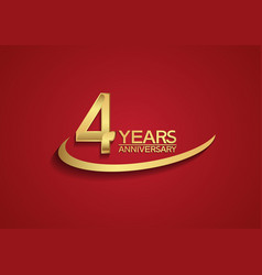 4 years anniversary logo style with swoosh golden vector