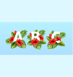 a b c letters surrounded summer tropical leaves vector image