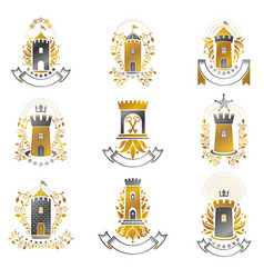 ancient citadels emblems set heraldic design vector image