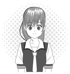Anime girl japanese character black and white vector