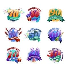 Anniversary emblems set vector