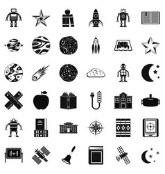 Astronomy science icons set simple style vector
