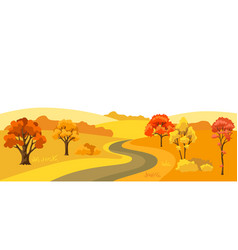 Autumn background with landscape and stylized vector