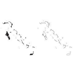 Bahamas country map black silhouette vector