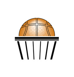 basketball orange ball icon sports equipment vector image
