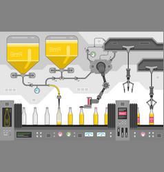 beer bottles on the conveyor vector image