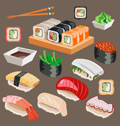 big set of japan asian kitchen sushi icons vector image