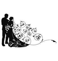 Bride and groom background pattern silhouette vector