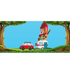 car and wagon full luggages vector image