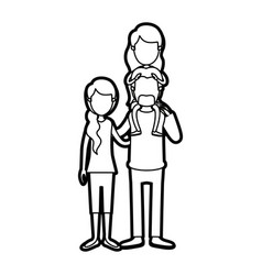 Caricature thick contour faceless family with vector