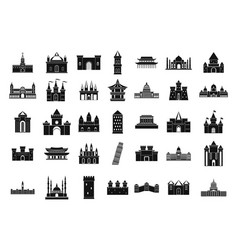 castle icon set simple style vector image
