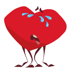 character the cartoon heart cries bitterly sh vector image
