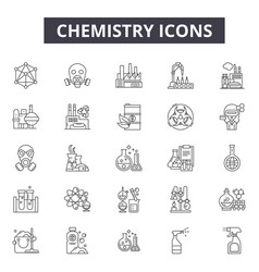 chemistry line icons for web and mobile design vector image