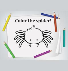 Children spider coloring worksheet vector