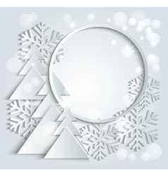 christmas background with paper snowflakes vector image