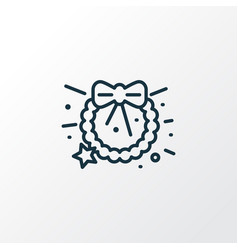christmas wreath icon line symbol premium quality vector image