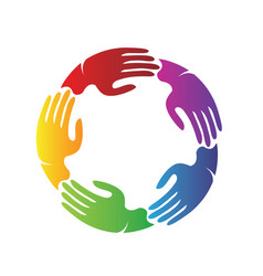 Colorful hands together teamwork charity vector