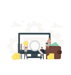 Computer with small businessmen around it vector